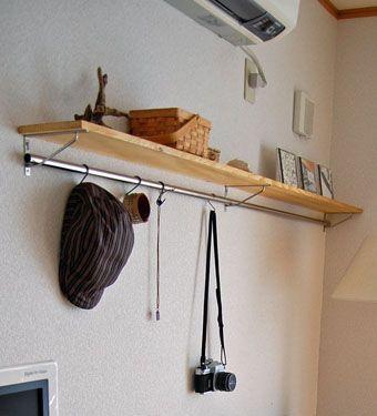 ステレオの台と その上に棚を作る After ひあたり 良好 棚 壁 棚 キッチン棚