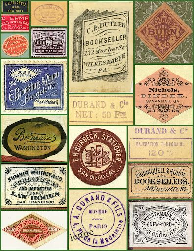 Vintage book labels collage (via Keith Tatum)