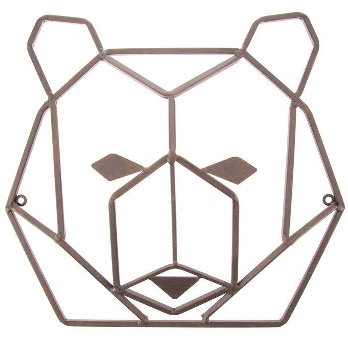 Rust Geometric Bear Head Metal Wall Decor   Adventure Nursery ...
