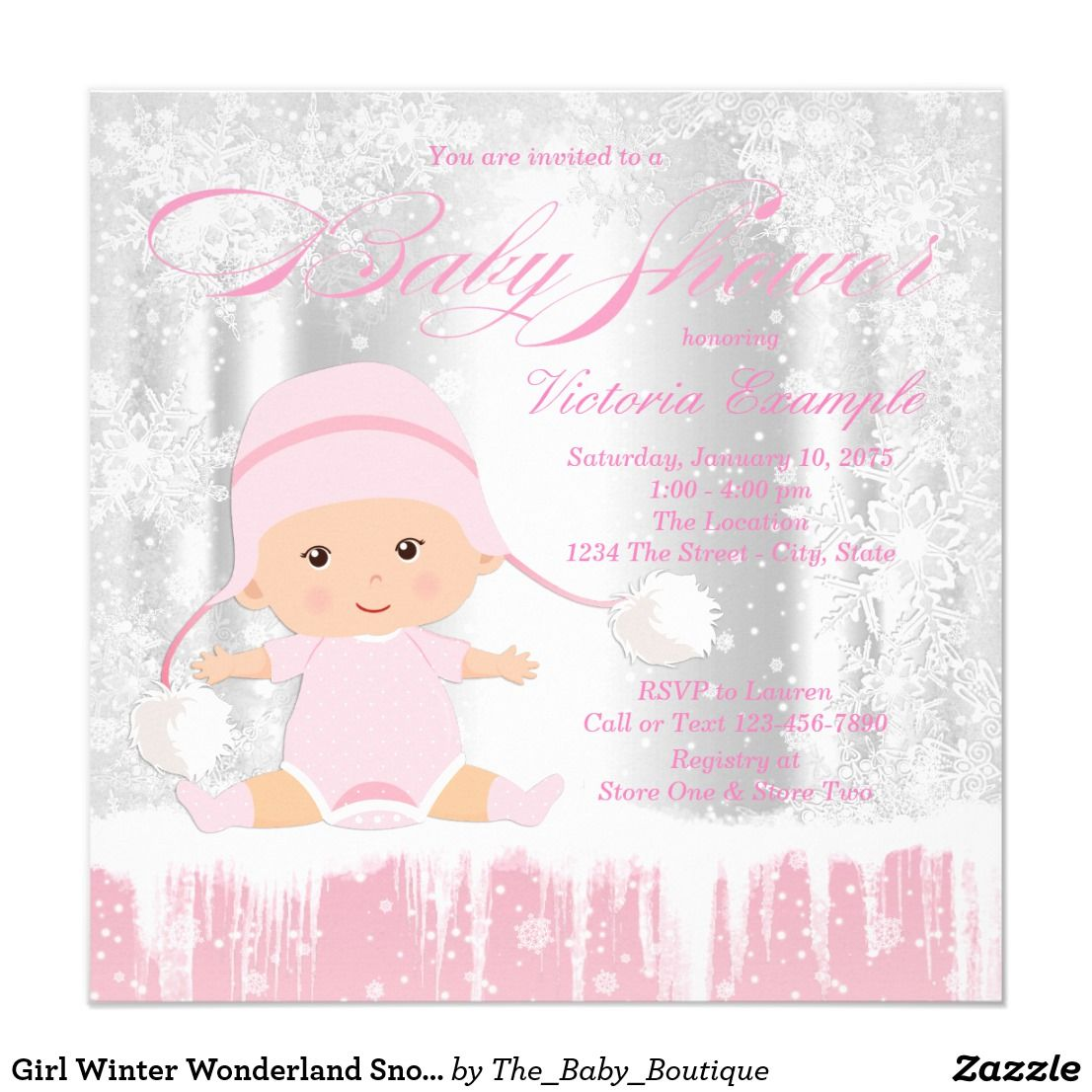 Winter wonderland baby shower invitation with adorable baby girl on ...