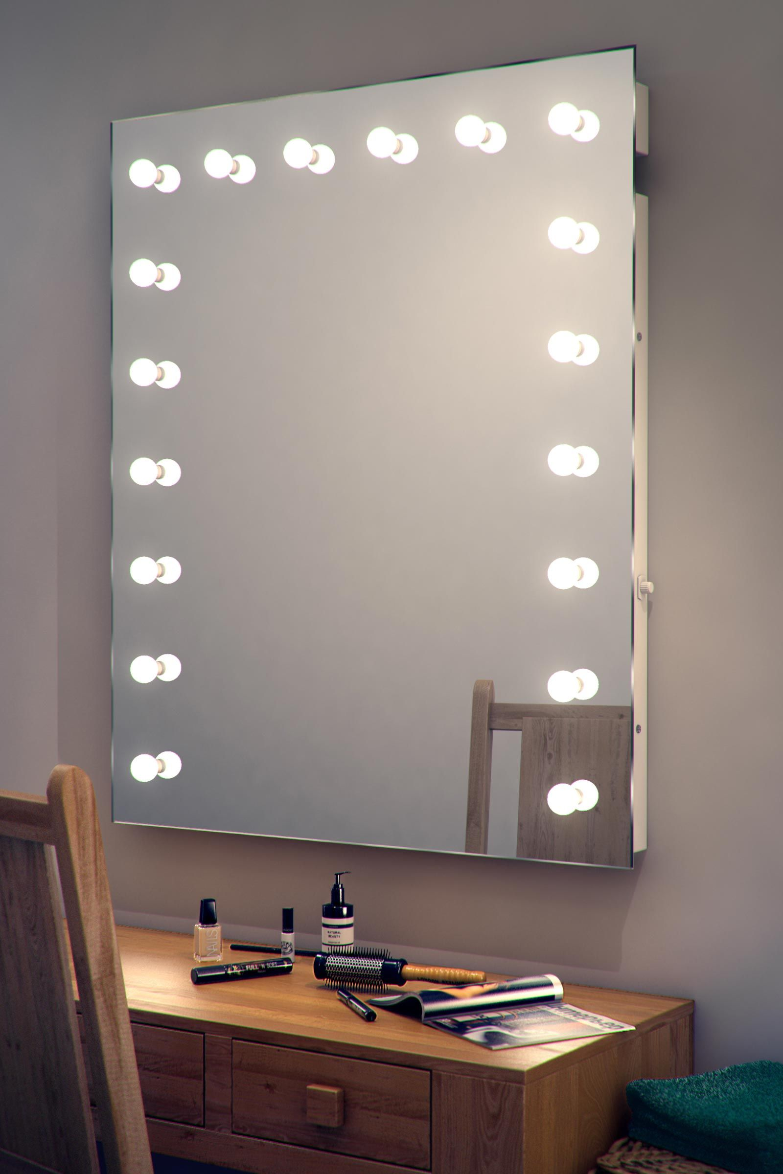 Hollywood makeup dressing room mirror with dimmable led lamps kled