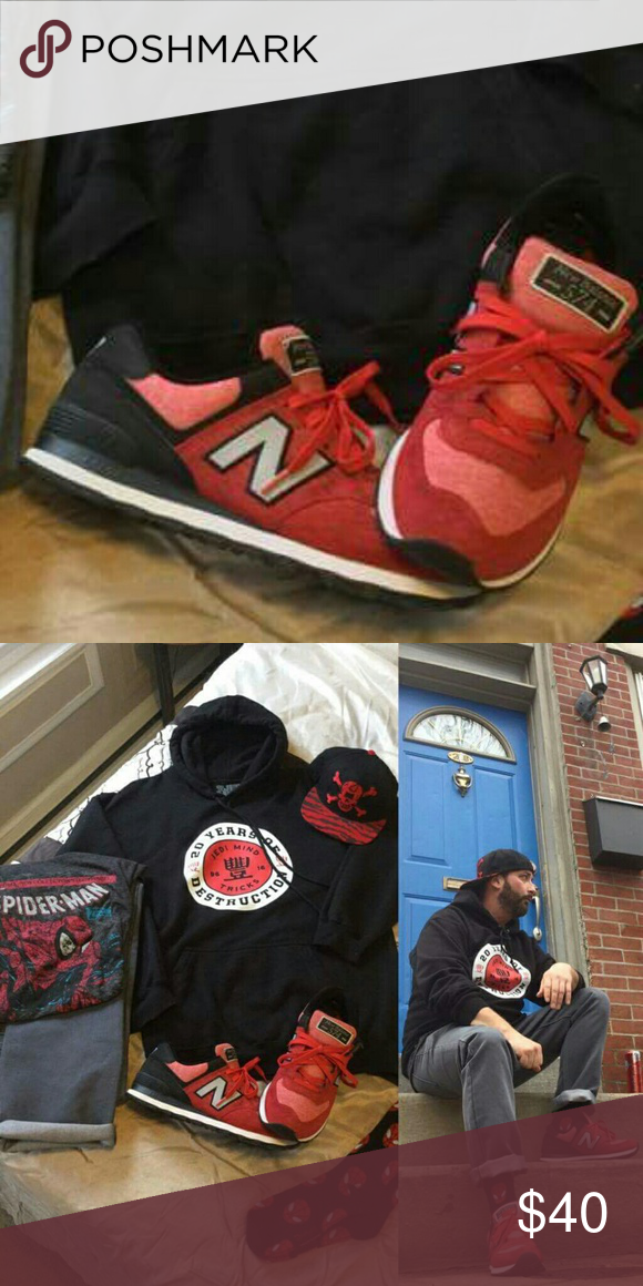 New Balance 574 Sweatshirt Pack Sneakers Used Red and Black 574 sweatshirt pack. Cherry Reds. Great condition. No Box. Not selling other items in the pictures. New Balance Shoes Sneakers