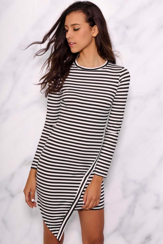 BKRM White Label Striped Silhouette Dress