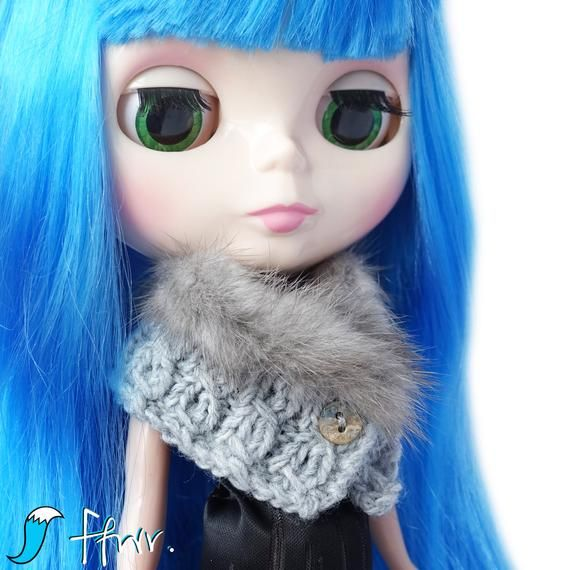 Photo of Mink Fur Knit Scarf for Blythe Doll, Handmade in Wales, Knit Grey Shell Button Winter Unique Collectors Gift Barbie Sindy Fashion Doll