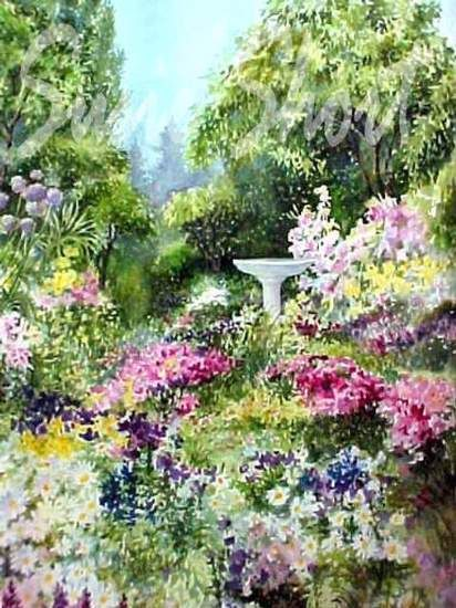 Watercolor Gardens   Flower Garden Paintings By Susie Short