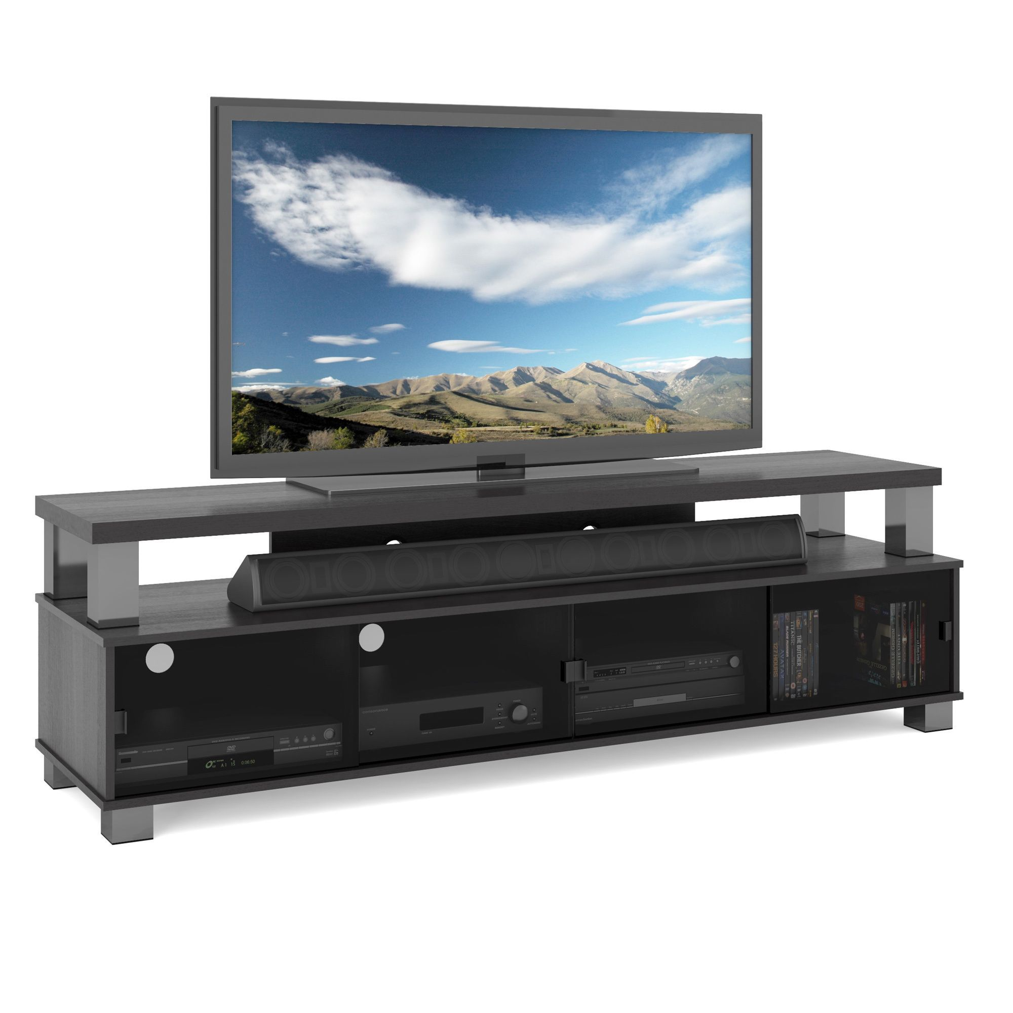 This Two Tiered Tv Bench Helps You Create A Great Home Theater Area As It Showcases Your Flat Screen Tv And Provides Convenien Tv Bench Tv Stand Cool Tv Stands
