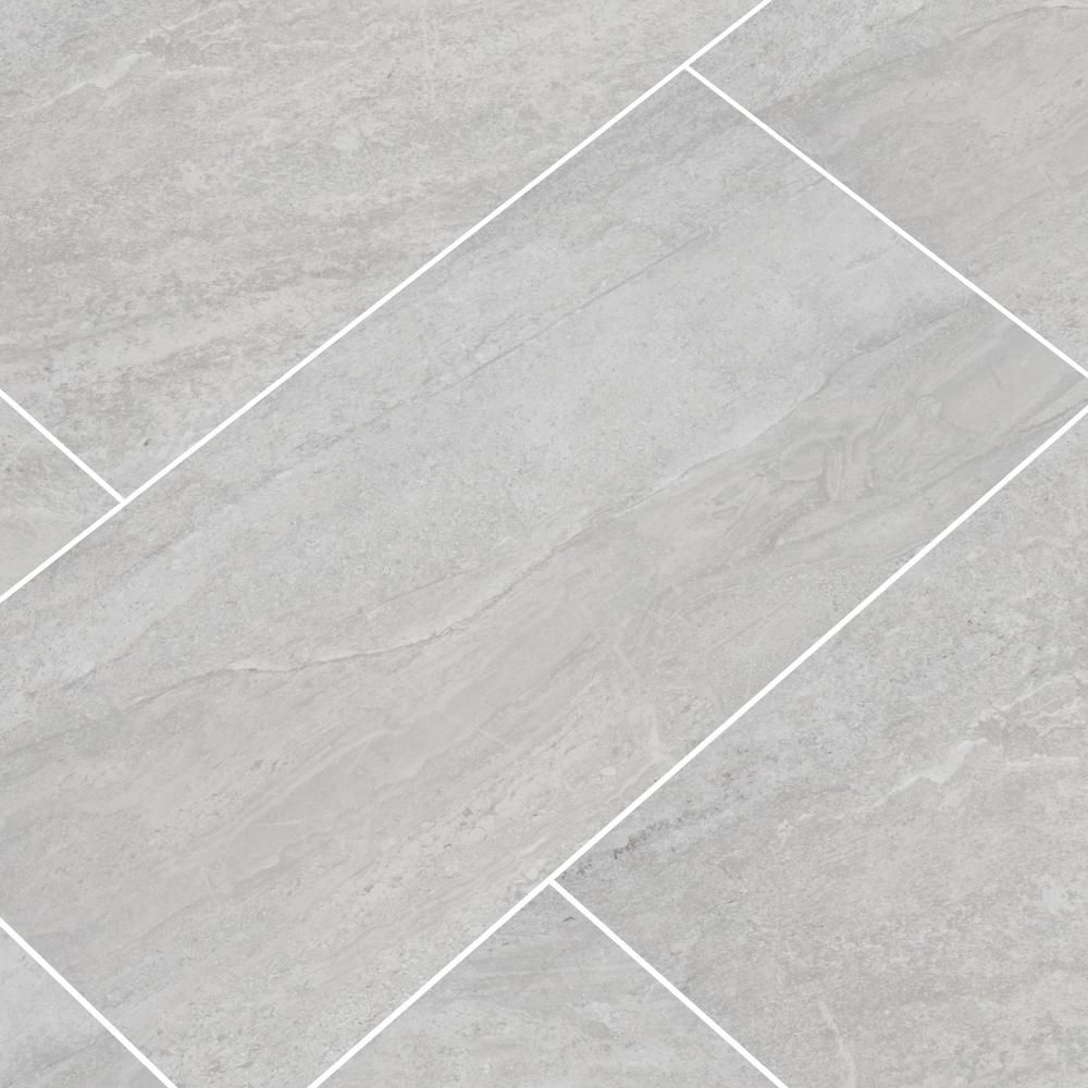 Msi Himalayan Gray 12 In X 24 In Matte Porcelain Floor And Wall Tile 12 Sq Ft Case Nhdhimgra1224 The Home Depot In 2020 Porcelain Flooring Grey Bathroom Floor Grey Kitchen Floor