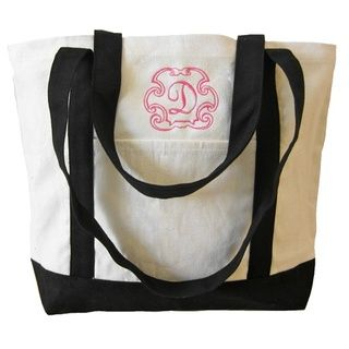 Black Monogrammed Tote by Luxury Monograms.  The perfect tote at the perfect price.  Whether it's a gift for your bridesmaids, a welcome bag, or even a treat for yourself to use on your honeymoon, this tote is the perfect carry-all for any occasion. $25 #monogrammed #bridesmaid