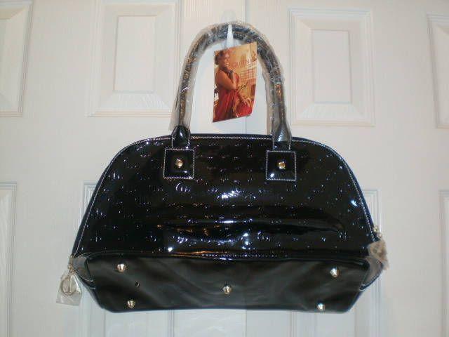 Queen Latifah Black Patent Leather Vinyl Handbag Satchel Purse Nwt Queenlatifah