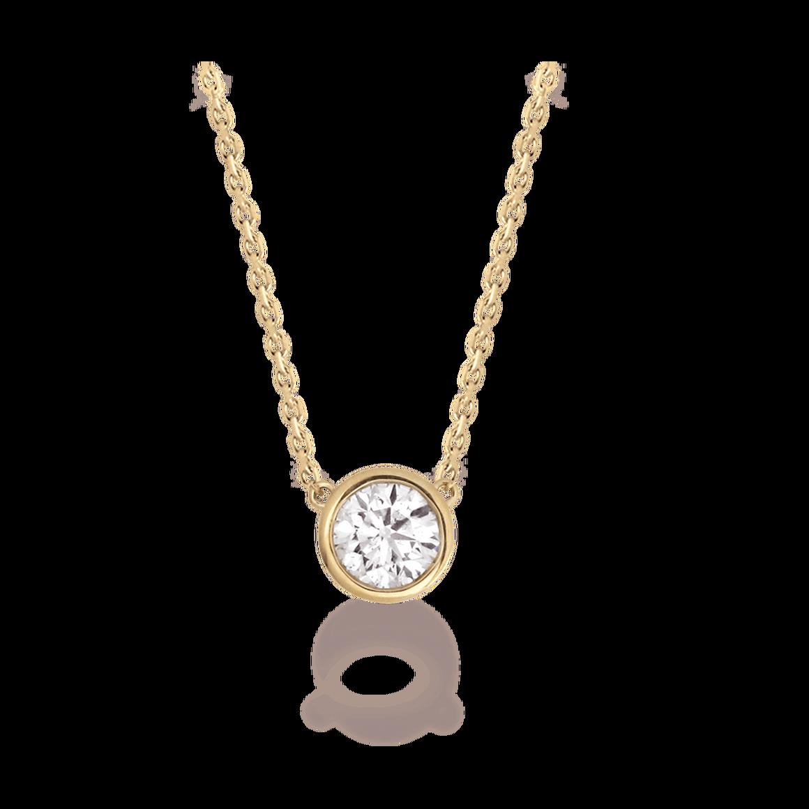 2 ct solitaire collier pendentif et chaîne 14k solide or blanc Round Cut