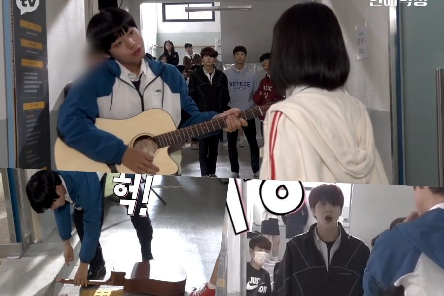 "Watch: The Boyz's Younghoon Worries About Park Ji Hoon's Broken Guitar Behind The Scenes Of ""Love Revolution"""