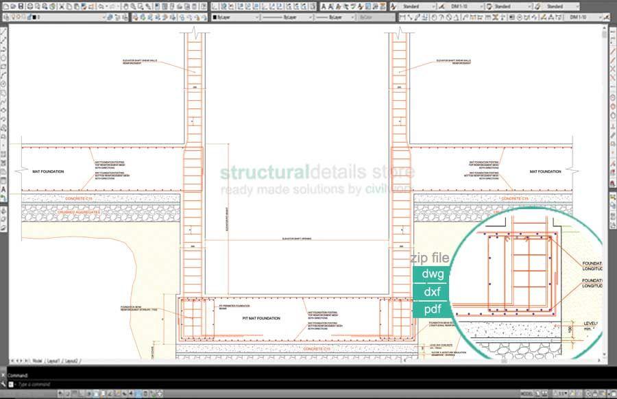 Türzarge detail dwg  Elevator Shaft Pit Foundation Reinforcement Detail | Cimientos ...