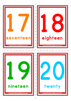 Massif image throughout printable numbers 1 20 flashcards