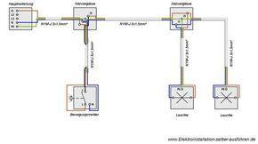 Schaltplan eines Bewegungsmelders mit zwei oder mehr Lampen ...
