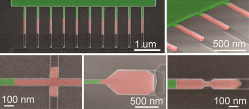 Scanning electron microscope images of single crystal structures fabricated using template-assisted selective epitaxy