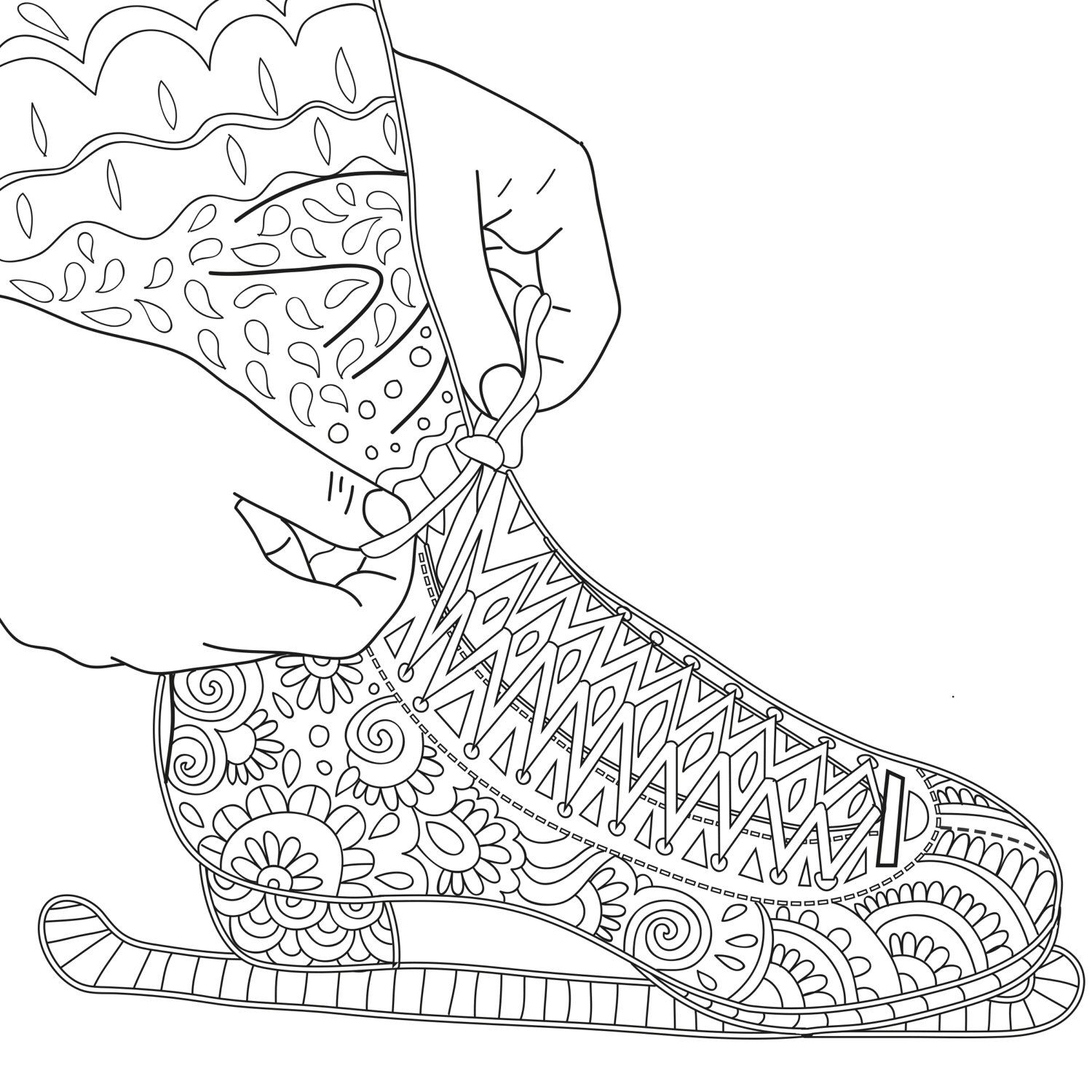 2 Printable Coloring Pages Zentangle Figure Skating