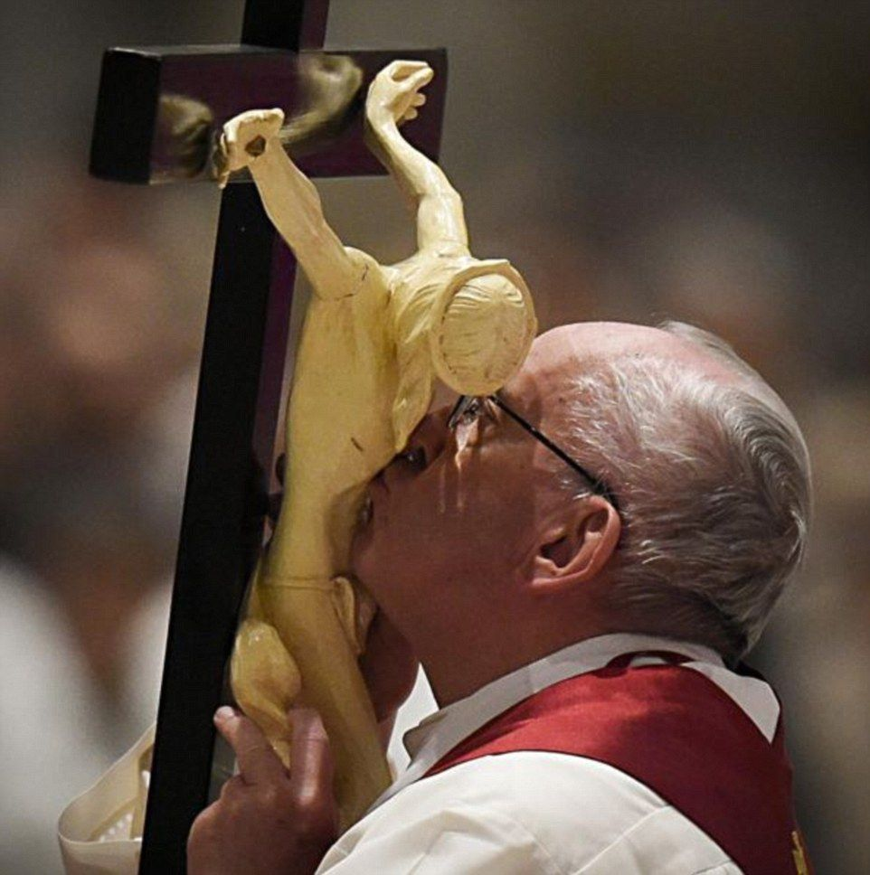 Image result for pope francis kissing crucifix