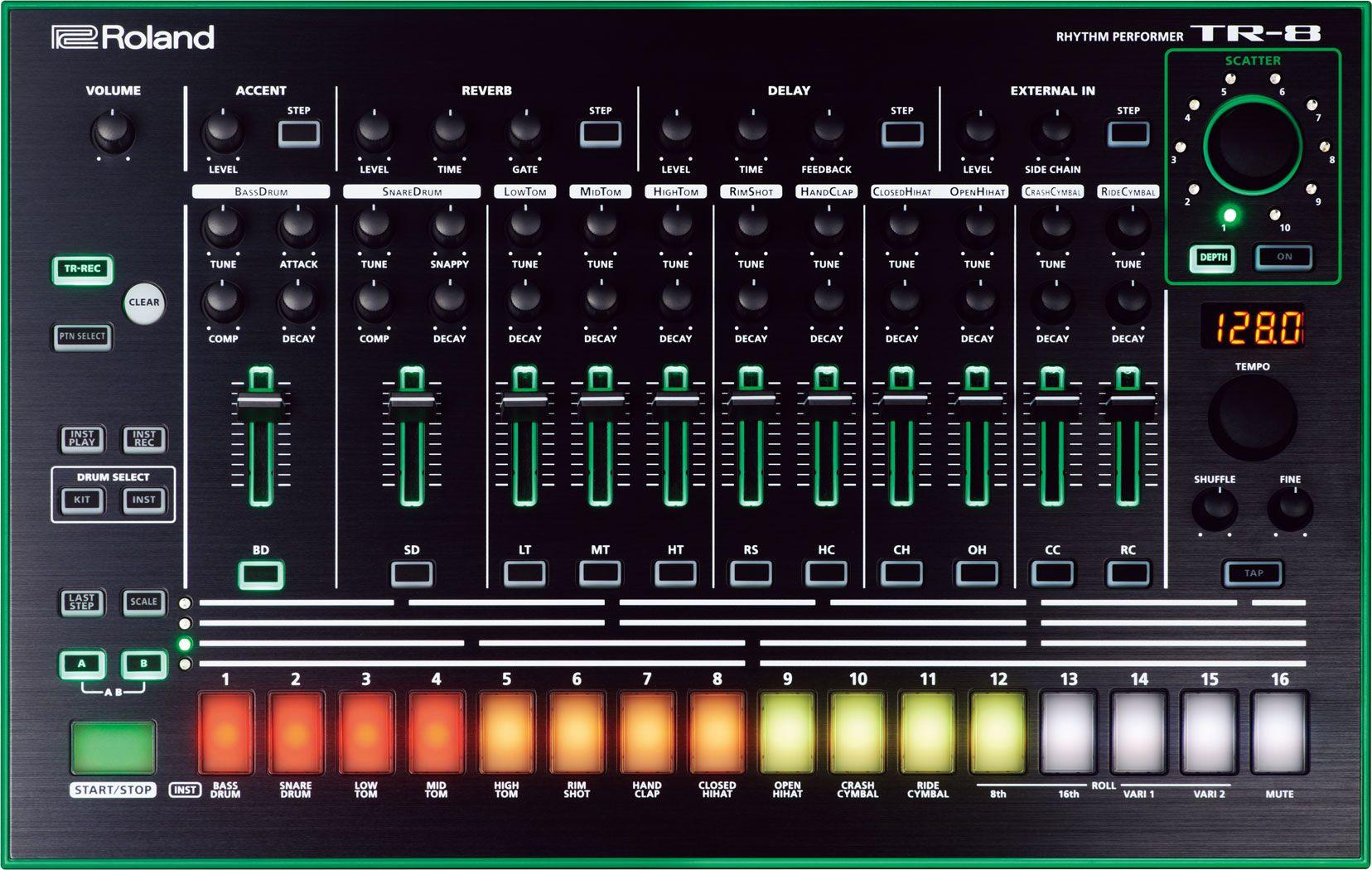 roland tr 8 musical stuff drum machine roland aira drum instrument. Black Bedroom Furniture Sets. Home Design Ideas