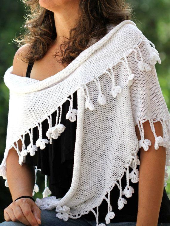 White Shawl Crocheted wrap shawl White Wraps Shawl Evening Shawl ...