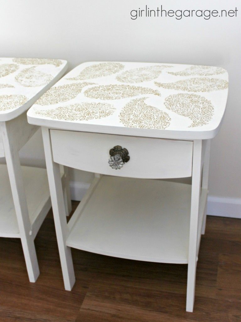 Pretty In Paisley Romance Themed Furniture Makeover A Pair Of Plain Tables Gets Soft And Update With Chalk Paint Metallic Stenciling