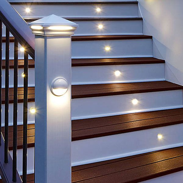 Stair Post Light: Trex LED Pyramid Post Cap Light, Trex LED Rail Light, And