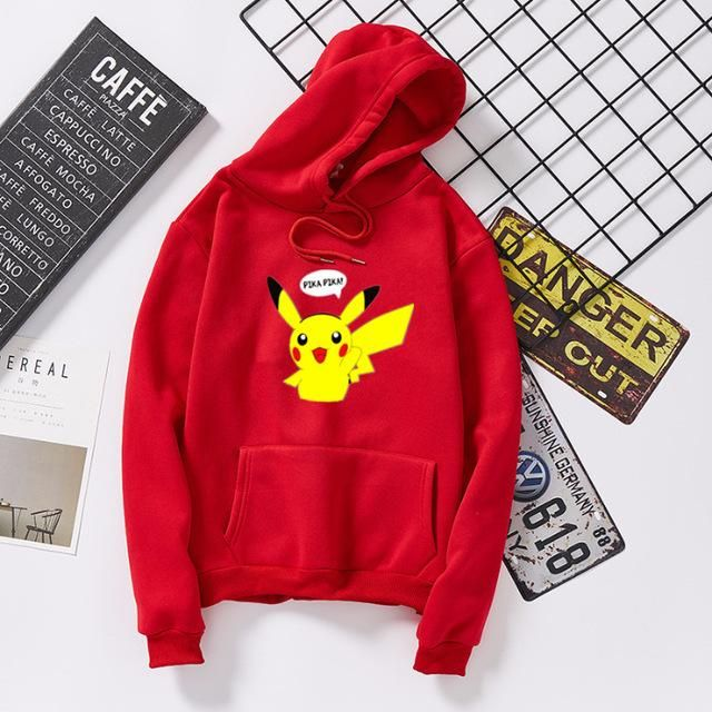 Photo of Pokemon Hoodies Unisex Men Women Cartoon Printed Pikachu Hoodie Kawaii Plus Velvet Sweatshirt Pullover Moletom Streetwear S-3XL