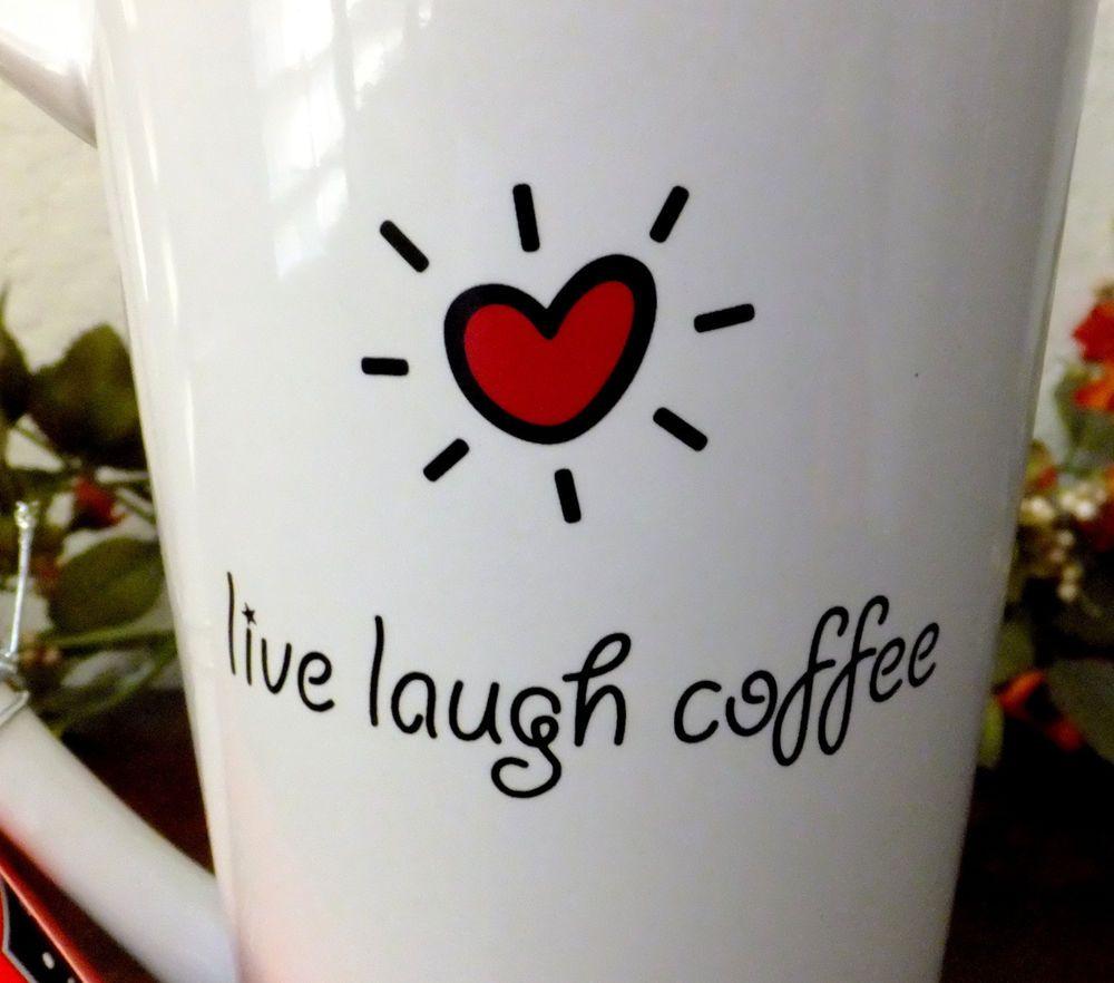 10 Strawberry Street LIVE LAUGH COFFEE Latte Mug Giant 32