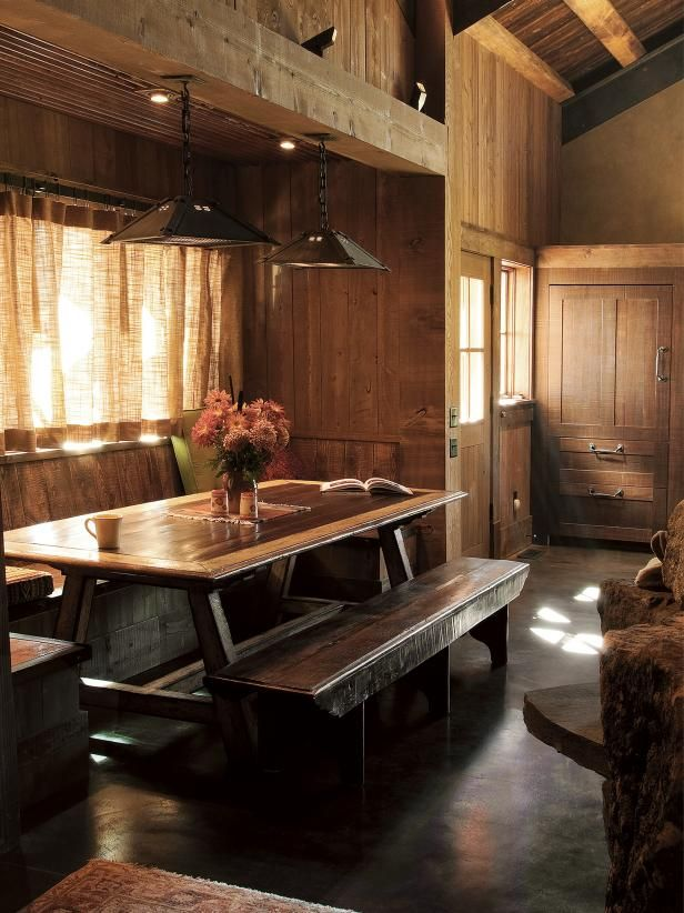 Banquette Seating Meets Picnic Table In Rustic Style Dining Room