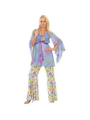 Adult Groovy Hippie Shirt Hippy 60s 70s Retro Peace Fancy Dress Costume BN