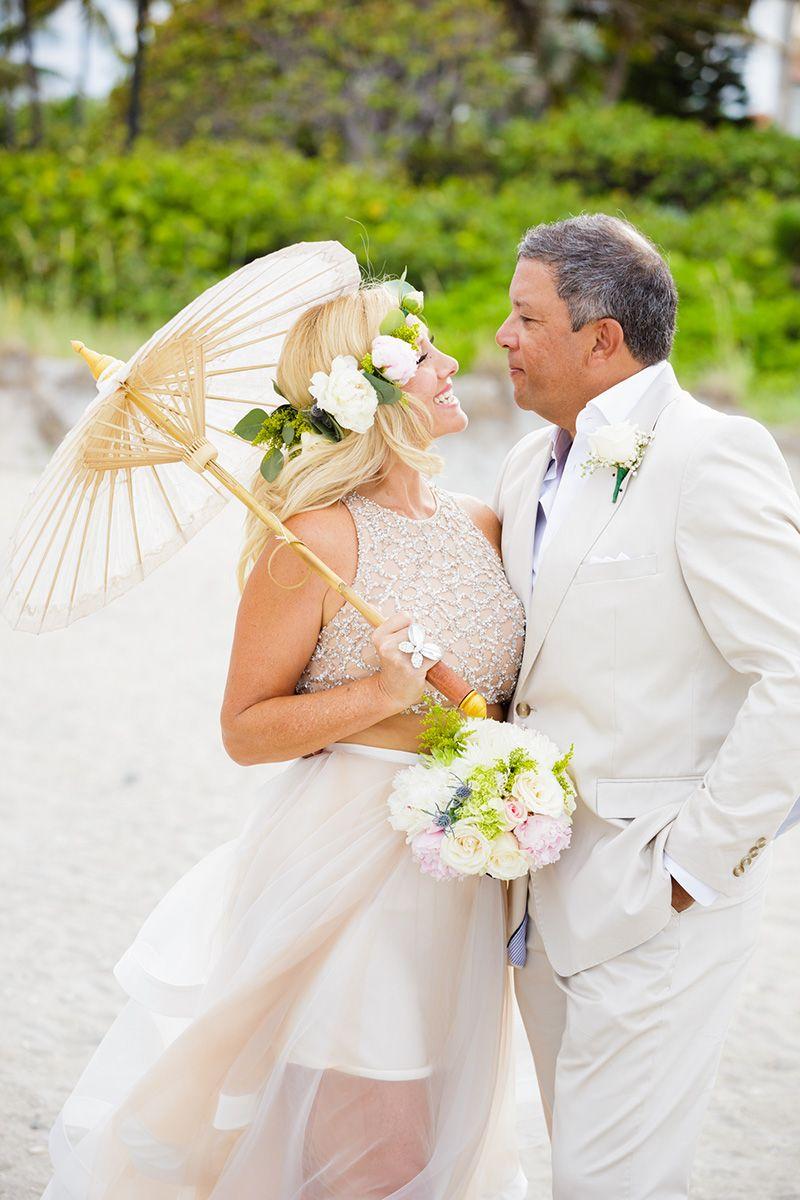 2090534593 Beachfront Vow Renewal at Carmine's Ocean Grill in Palm Beach Gardens, FL. # vowrenewal #alternativeweddingdress #bridaljumpsuit #bridalwear #jumpsuit  ...
