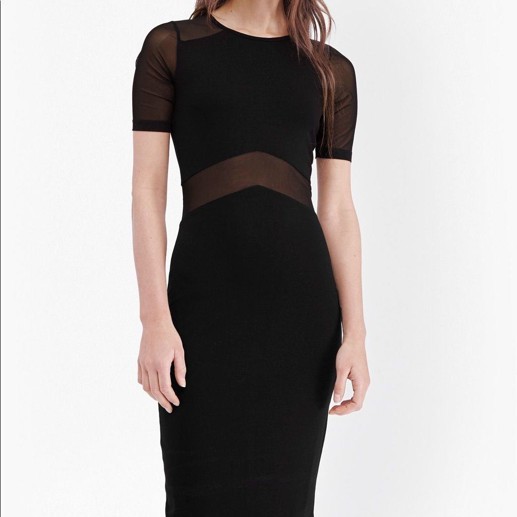 Arrow mesh fitted body con dress size products