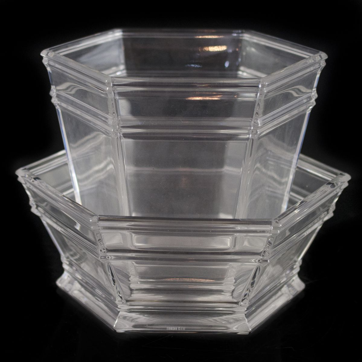 "DESCRIPTION:Crystal bowl and planter by Tiffany & Co. Features a hexagonal shape with segmented lines and rolled edges. Marked: ""Tiffany & Co."" on the bottom. CIRCA:20th Ct. ORIGIN:USA DIMENSIONS:(Planter) H:7.25"" L:7.5"" (Bowl) H:5"" L:9"""