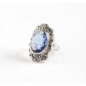 Vintage Art Deco Sterling Silver Simulated Sapphire Marcasite Ring Size 6 1930s 1940s Blue Glass Statement Clark and Coombs Jewelry