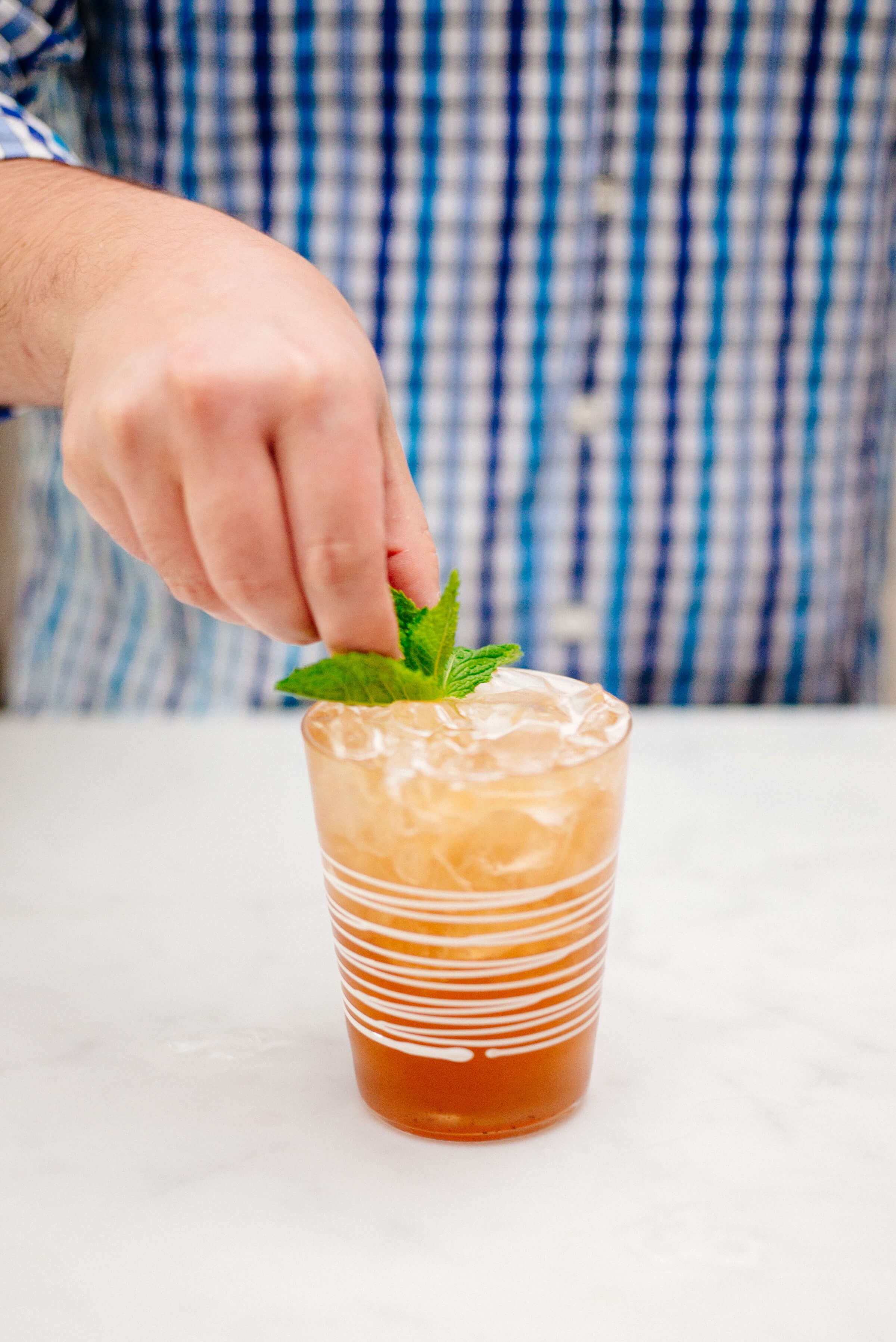 """""""Jack and Ginger"""" Cocktail {Bourbon, Pomegranate Hibiscus Ginger Ale, Mint} - The Taste SF"""