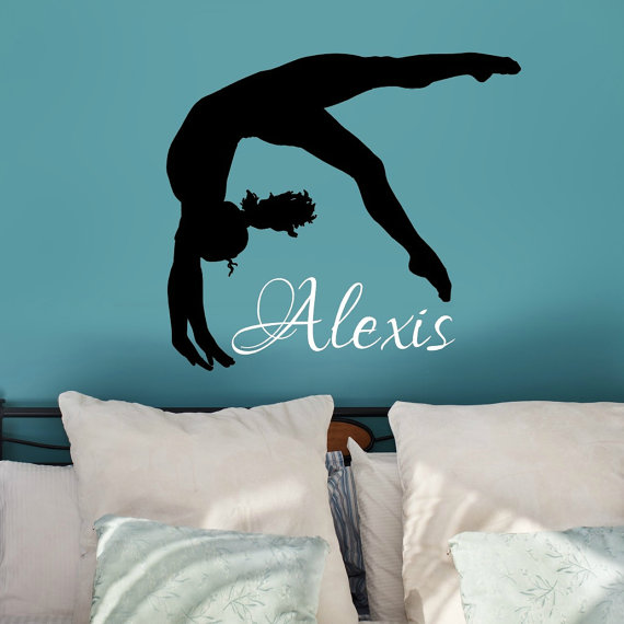 Gymnastics girl with name wall decal personalized by for Gymnastics wall decals