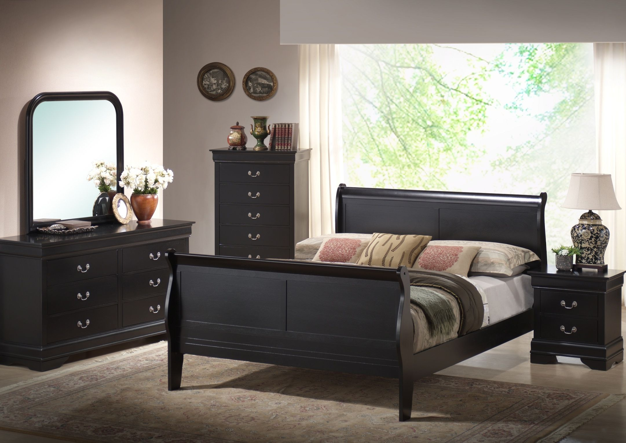This Harrell Black King Size Modern Bedroom Set Includes Includes A King  Sized Modern Sleigh Bed, Dresser With Attachable Mirror, And Two Night  Stands.