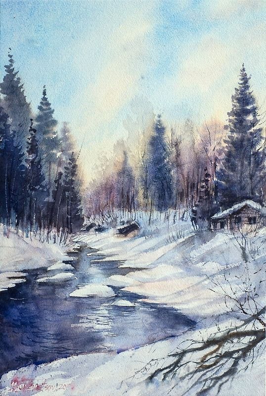 Winter River In The Laurentian Mountains Quebec By Misha Kuznetsov Redbubble River Painting Winter Landscape Monet Wallpaper
