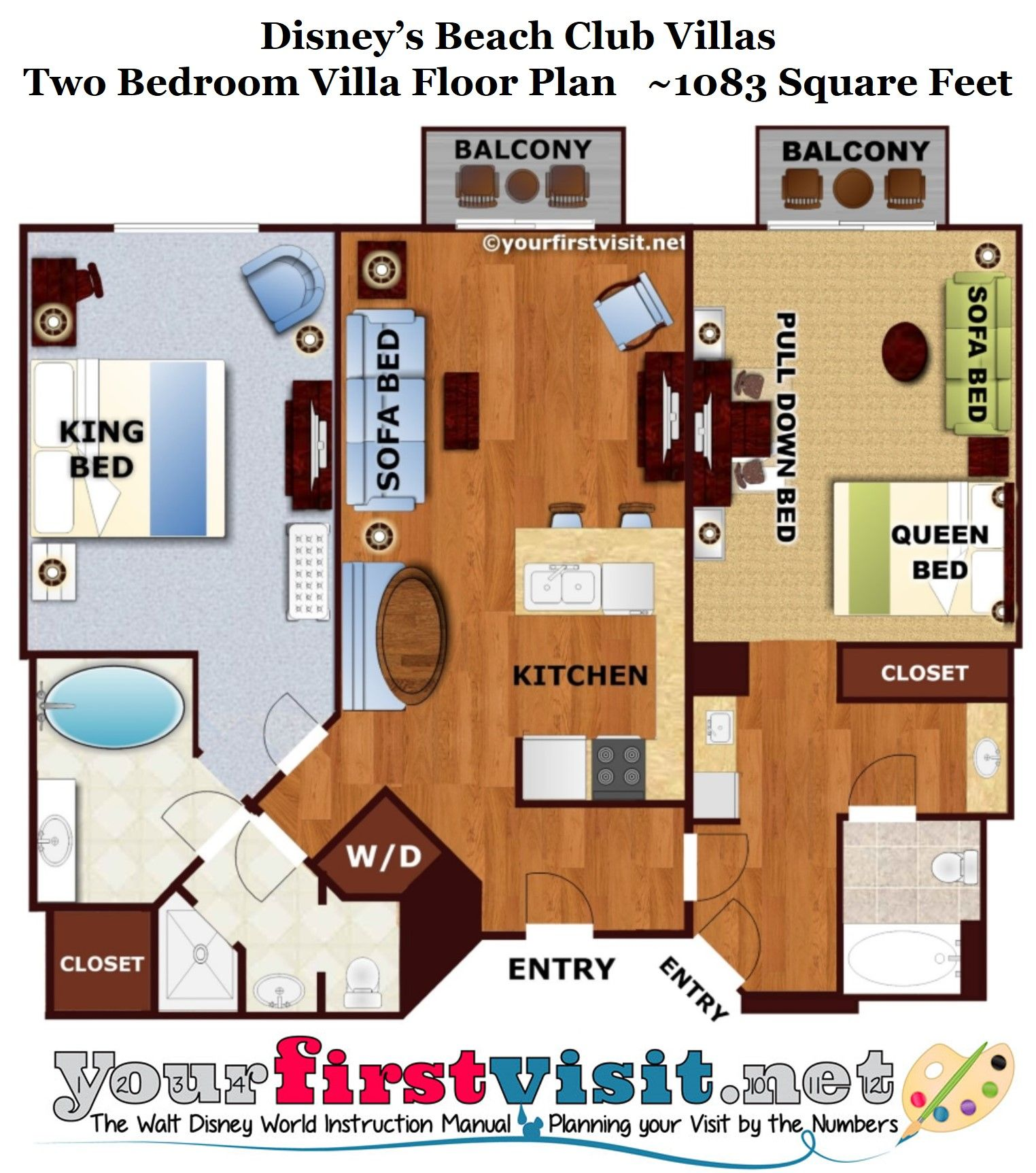 Disneys Beach Club Villas Renovated Two Bedroom Villa Floor Plan From Yourfirstvisit Net