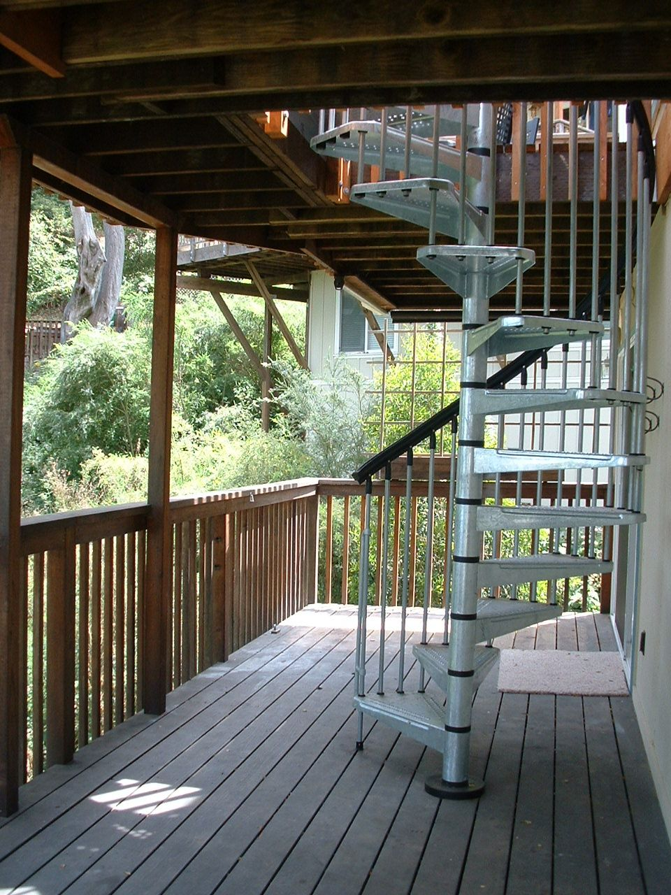 deck stairs designs double deck stairs redwood double deck spiral staircase - Exterior Stairs Designs