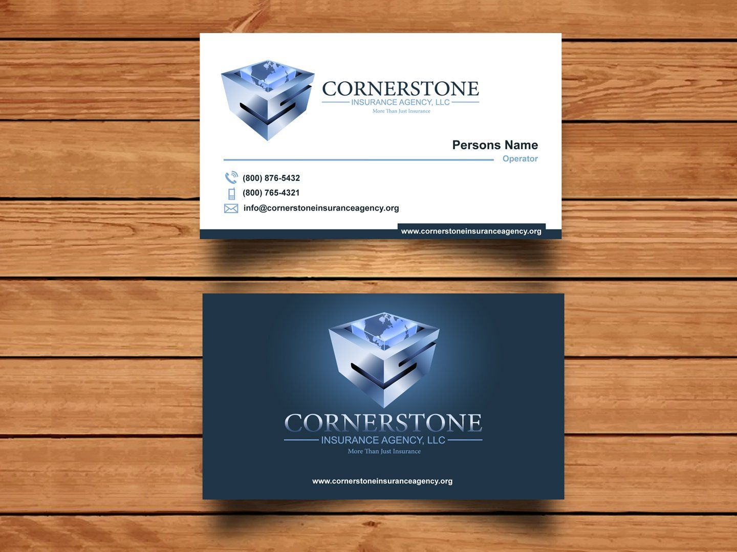 Logo And Business Card Design 179 Cornerstone Insurance Agenc Llc Design Project Designcontest Business Card Design Card Design Business Cards