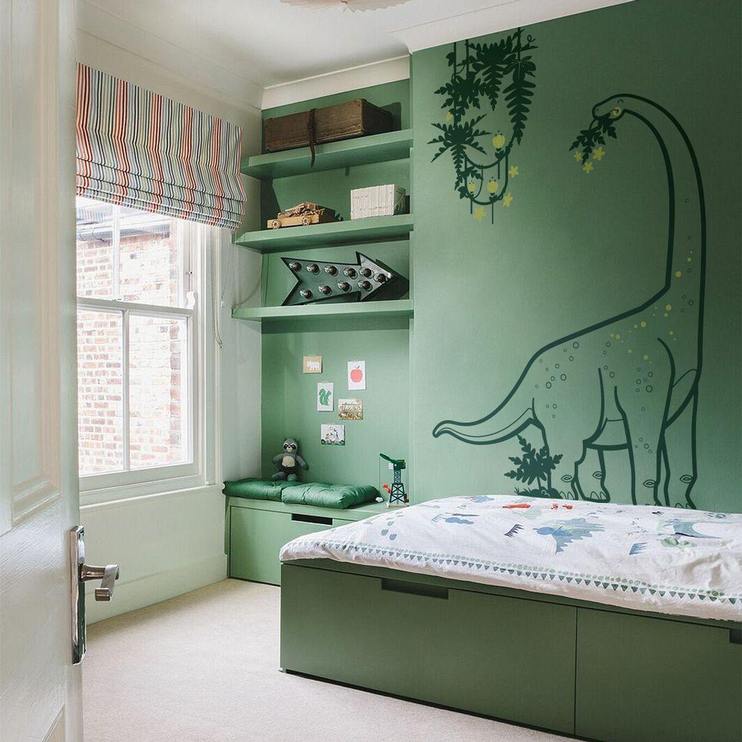 Un contraste subtil entre les couleurs et ce décor mural Dinosaure