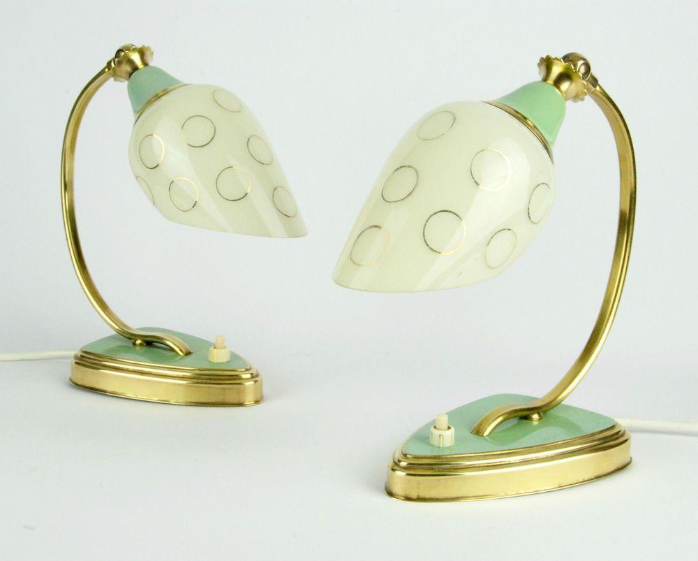 2 x original 1950s bedside lamps art deco mid century