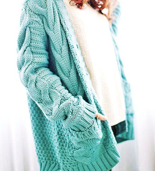 47d5cf6695 Cable Knit Oversized Cardigan Sweater - Blue Oversized Cardigan Sweater