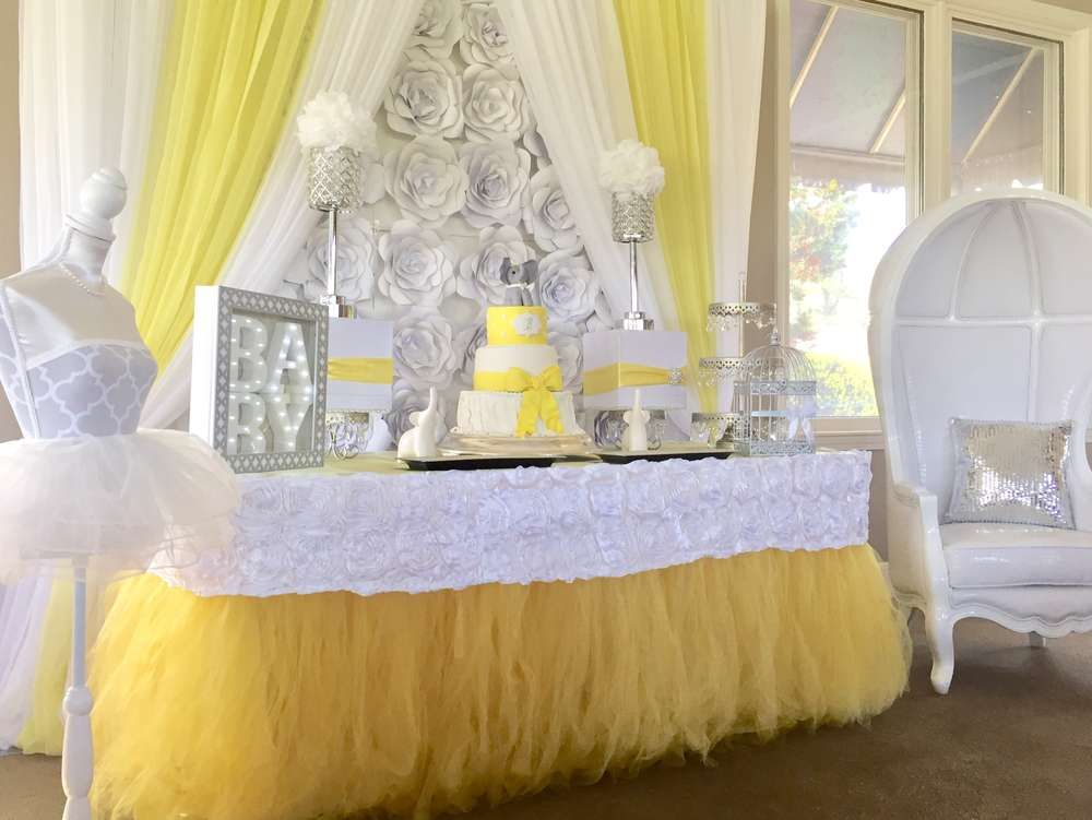 Yellow White Silver Baby Shower Party Ideas Photo 7 Of 11