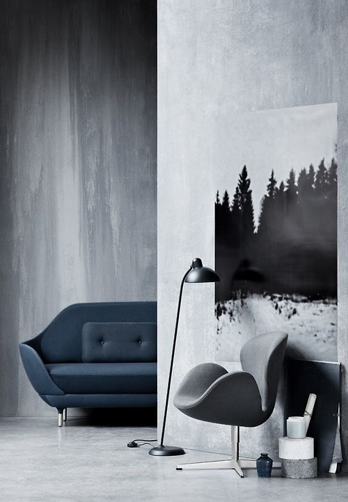 thedesignwalker:  RAZORϟEDGE: Grey Interiors, Fritz Hansen, Design Interiors, Interiors Design, Trees Paintings, Girls Style, Arne Jacobsen, Modern Home, Swan Chairs