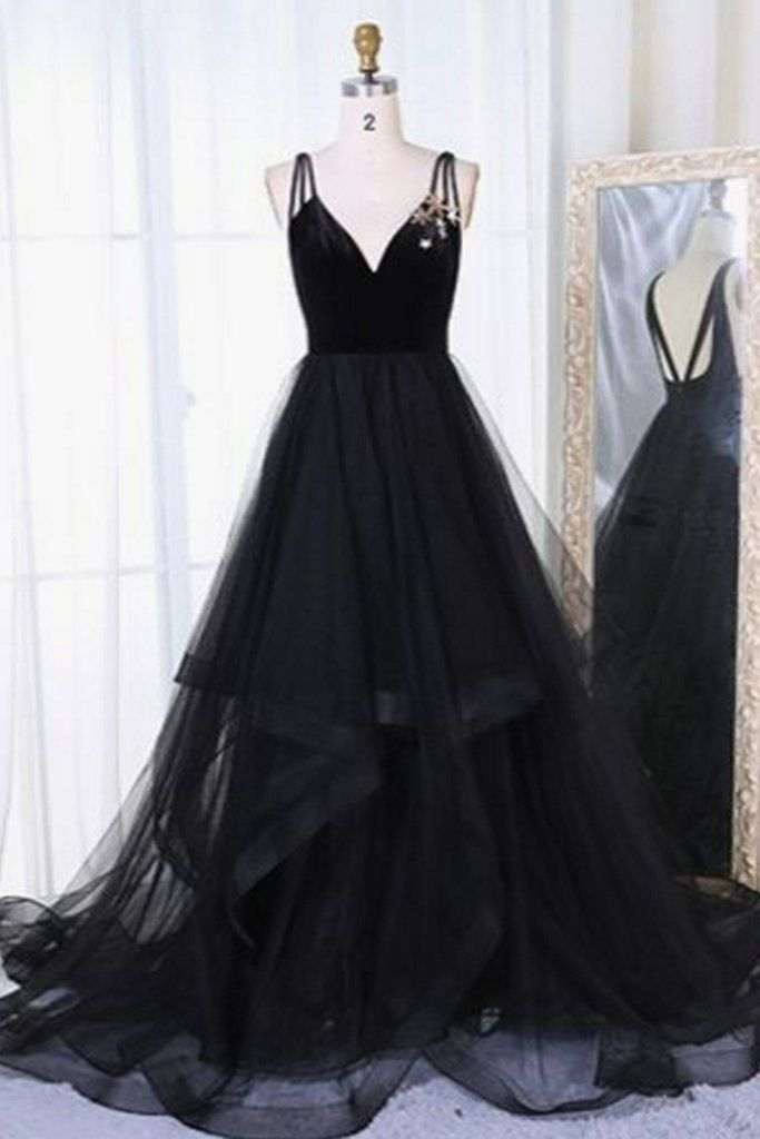 b04d10aef69 Black tulle V neck long open back ruffles A-line evening dress ...