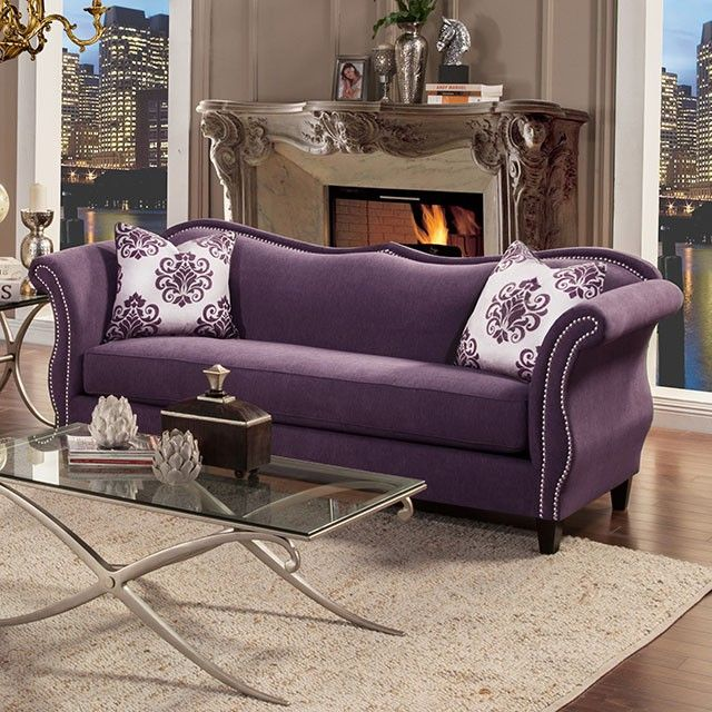 Sku Sm2233 Traditional Sofa And Loveseat English Curved Arms Bench Style Seating Sweetheart Style Velvet Sofa Living Room Victorian Sofa Purple Living Room