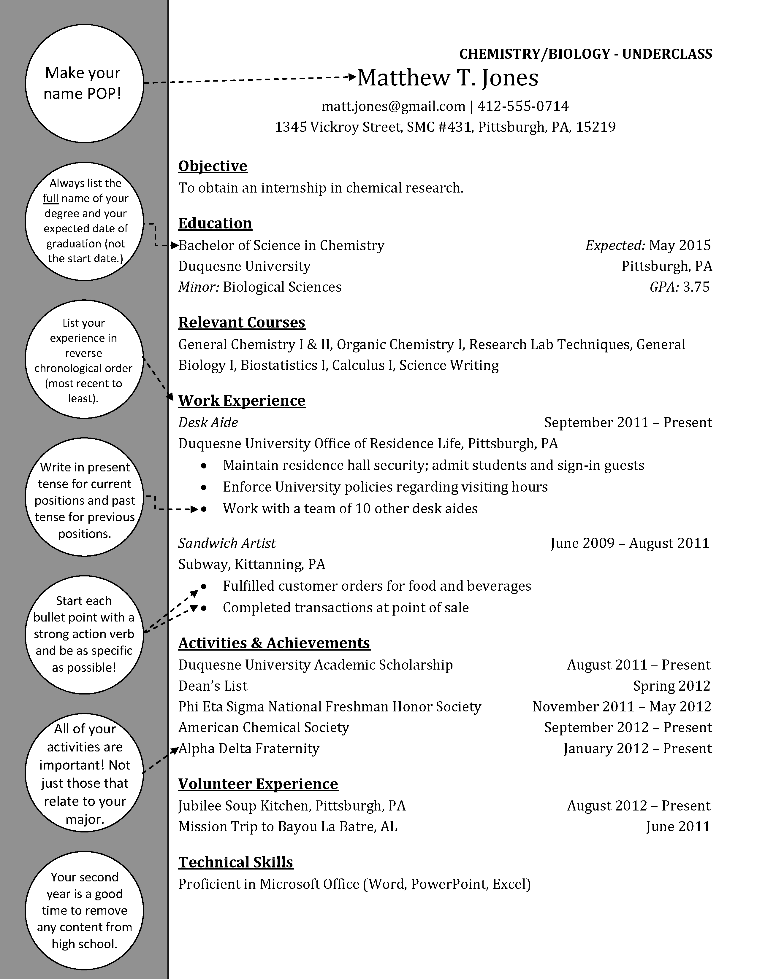 Chemistry Underclass Resume Duquesne Resume Cover Letter
