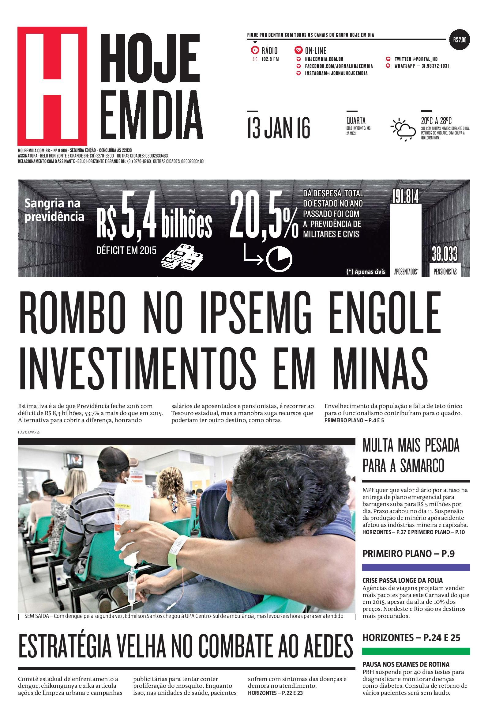 Capa do dia 13/01/2016 #HojeEmDia #Jornal #Notícias #News #Newspaper