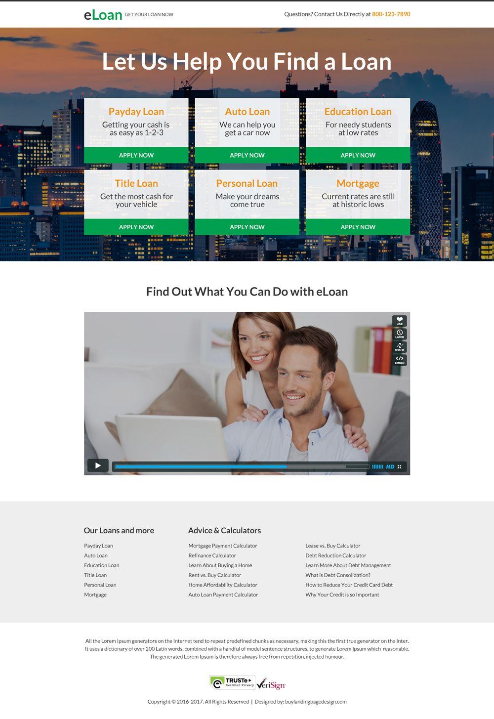 responsive eloan mini video landing page design